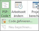 Bild der Option 'Code definieren', aufgerufen über die Schaltfläche 'PSP'.