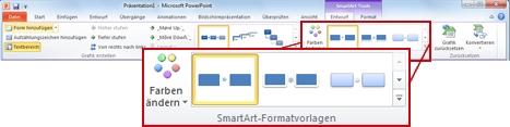 Registerkarte 'Entwurf' unter 'SmartArt-Tools'