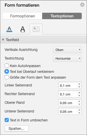 """""""Textfeld""""-Optionen im Bereich """"Form formatieren"""""""