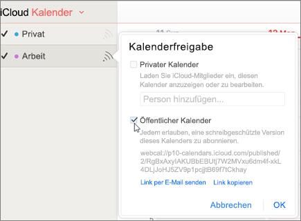 Öffentlicher Kalender-Einstellungen in iCloud