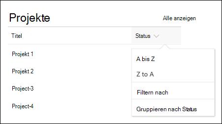 Listenansicht-Webpart mit sortieren, Filtern und Gruppenmenü