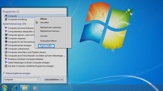 Systemsteuerung im Betriebssystem Windows 7