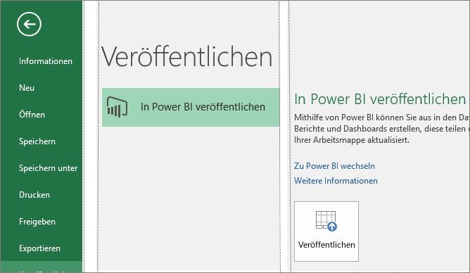 """Registerkarte """"Veröffentlichen"""" in Excel 2016 mit Schaltfläche """"In Power BI veröffentlichen"""""""