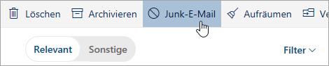 """Screenshot der Schaltfläche """"Junk-E-Mail"""""""