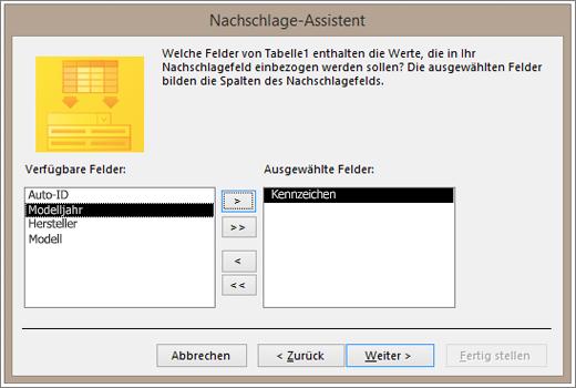 Bildschirmausschnitt des Nachschlage-Assistenten