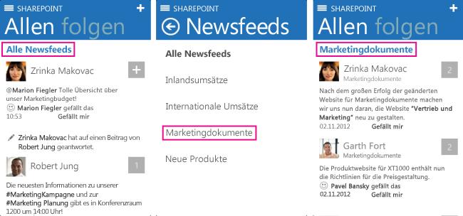 Screenshots der Vorgehensweise zum Auswählen verschiedener Newsfeeds auf einem iOS-Gerät