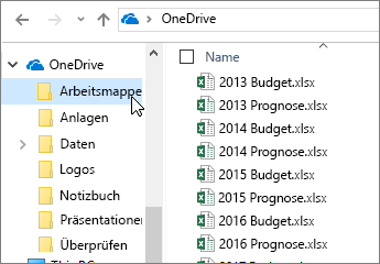 Windows Explorer, OneDrive-Ordner, Excel-Dateien