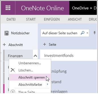 Screenshot zum Entsperren eines Abschnitts in OneNote Online