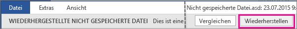 Öffnen einer nicht gespeicherten Datei in Office 2016