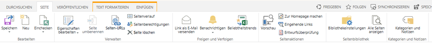 Screenshot der Registerkarte 'Seite' mit zahlreichen Schaltflächen zum Bearbeiten, Speichern, Ein- und Auschecken von Veröffentlichungsseiten