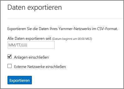 Exportieren von Daten aus dem Yammer-Netzwerk
