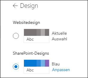 Auswählen eines neuen Designs für Ihre SharePoint-Website