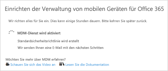 Status der MDM Installation