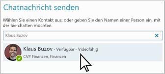 """Suchfeld für """"Chatnachricht senden"""""""