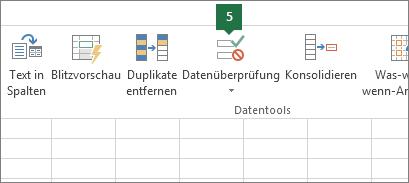 """Die Dropdownliste überprüfen, indem Sie in Excel auf """"Daten"""" > """"Datenüberprüfung"""" klicken"""