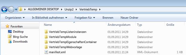 Screenshot von Windows-Explorer mit einem entpackten Weblösungspaket (WSP)