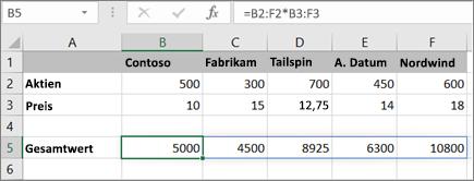 Ein Beispiel für eine Matrixformel, die mehrere Ergebnisse berechnet