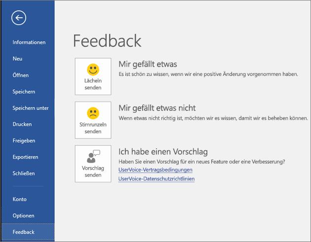 """Klicken Sie auf """"Datei"""" > """"Feedback"""", um Kommentare oder Vorschläge zu Microsoft Visio abzugeben."""