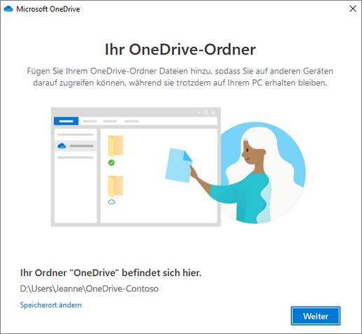 """Der Bildschirm """"Dies ist Ihr OneDrive-Ordner"""" im Assistenten """"Willkommen bei OneDrive"""""""