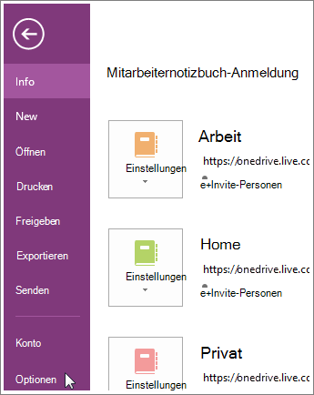 OneNote-Optionen