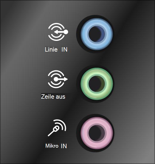 Grüne Ausgabe und rosafarbene Eingabe-Sound System-Buchsen