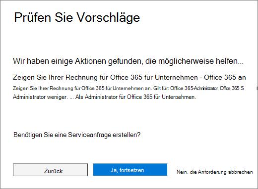 """Screenshot der Seite """"Vorschläge überprüfen"""" im Office 365 Admin Center Serviceanfrage Formular."""
