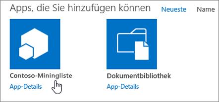 """Dialogfeld """"Apps, die Sie hinzufügen können"""" mit hervorgehobener App"""