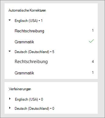 Korrekturen und Verfeinerungen werden im Editor-Fenster pro Sprache aufgelistet.