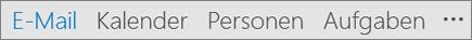 """Outlook-Schnellzugriffsleiste mit Anzeige der Schaltflächen """"E-Mail"""", """"Kalender"""", """"Personen"""" und """"Aufgaben"""" sowie """"Weitere Optionen"""" (drei Punkte oder Ellipse)"""