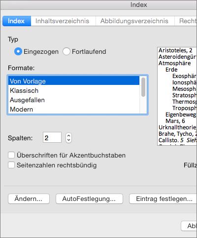 """Zeigt die Optionen an, die Sie im Dialogfeld """"Index"""" festlegen können."""