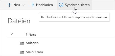 Dateien auf Ihrem PC mit OneDrive for Business synchronisieren