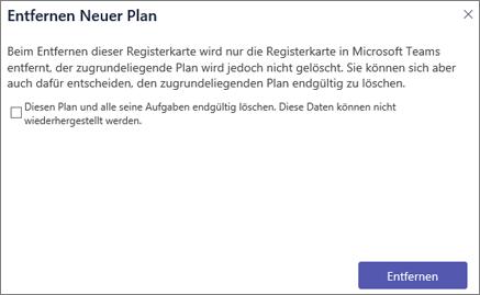 "Screenshot des Dialogfelds ""Registerkarte entfernen"" in Teams"