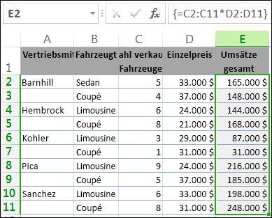 Die Summen in Spalte E werden mithilfe einer Arrayformel berechnet