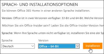 """Screenshot der Optionen für Sprache und Version und der Schaltfläche """"installieren"""""""