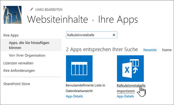 """App """"Kalkulationstabelle importieren"""" im Dialogfeld """"Neue Apps"""" hervorgehoben"""