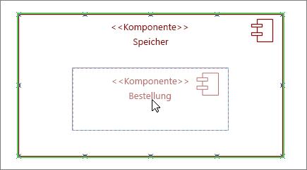 """Teilsystem-Shape für """"Store"""" mit Komponente """"Order"""", die auf das Teilsystem gezogen ist"""