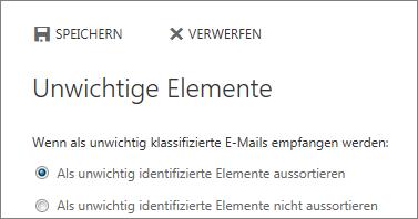 """Optionen für """"Unwichtige Elemente"""""""