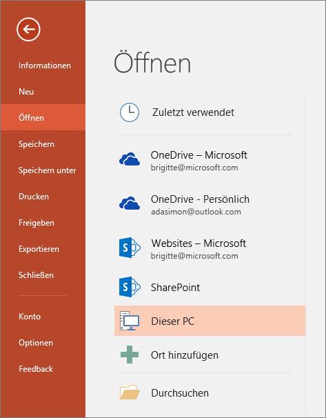 Abbildung von 'Datei öffnen' in PowerPoint 2016