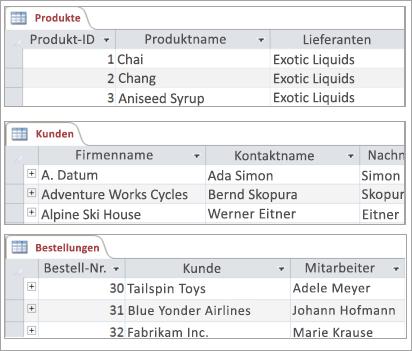 """Ausschnitte der Tabellen """"Produkte"""", """"Kunden"""" und """"Aufträge"""""""