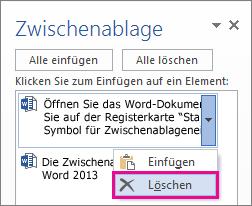Löschen eines Elements aus der Zwischenablage von Word2013