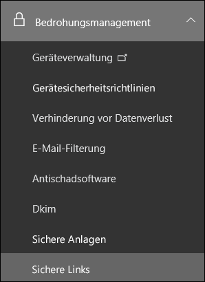"Office 365 Security & Compliance Center, Menü ""Bedrohungsverwaltung"""