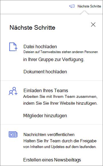 Der nächste Schrittbereich nach dem Erstellen einer neuen freigegebenen Bibliothek in OneDrive for Business