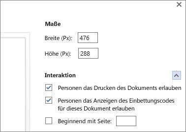 Optionen zum Einbetten eines Word-Dokuments