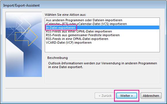 """Wählen Sie """"In Datei exportieren"""" aus."""