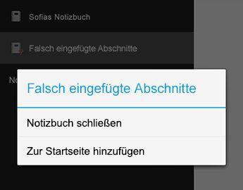 """Befehl """"Notizbuch schließen"""" in OneNote für Android"""