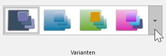 """Screenshot der Anzeige von """"Entwurf"""" > """"Design"""" > Symbolleiste """"Varianten"""""""