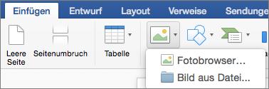 """Auf der Registerkarte """"Einfügen"""" ist """"Bild aus Datei"""" hervorgehoben."""