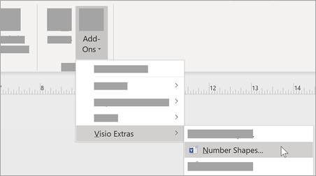 Wählen Sie auf der Registerkarte Ansicht die Option Add-ons > Visio Extras > Number Shapes aus, um das Zahlenformat hinzuzufügen.