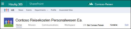 SharePoint-Hub freigegeben Websitenavigation