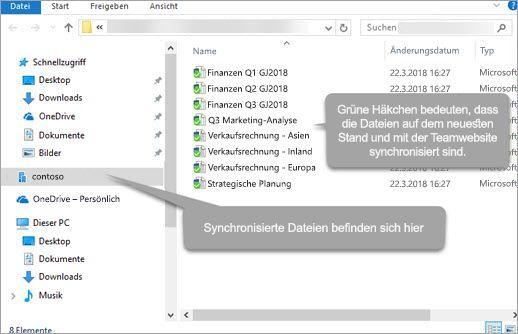 Synchronisierung von Office 365 SharePoint - Datei-Explorer für Windows